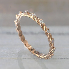 Gift Solid 10k Rose Gold Moissanite Solitaire Wedding Anniversary Eternity Band