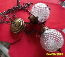 VTG HOLLYWOOD REGENCY SWAG LAMP MID CENTURY DOUBLE GLASS CHANDELIER LIGHT
