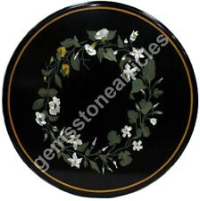 "24""x24"" Black Marble Round Top Center Table Florals Inlaid Art Christmas Gift"