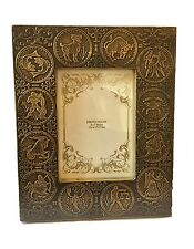 """Zodiac Antique Brass Wooden Picture Photo Frame Free Standing Holds 5"""" X 7"""" In"""