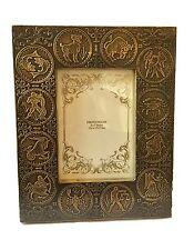 Zodiaque Laiton Ancien En bois Cadre Photo Support Libre Détient 12.7cmX17.8cm
