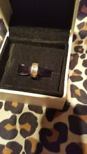 Pandora silver spacer charm pink crystal used con boxed