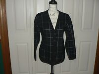 Jones New York Women's Sweater Black & Silver Button Front Long Sleeve Cardigan