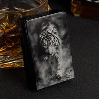 New Laser Engraving Tiger Aluminum Metal Cigarette Case For 20 Cigarettes Black