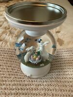 Bath & Body Works Easter Bunnies Pedestal Candle Holder Globe Lights Up~Spring~