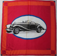 -Authentique Foulard MERCEDES-BENZ  100% soie  TBEG  vintage scarf 88 x 92 cm