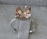 3Ct Cushion Cut Morganite Halo Diamond Women Engagement Ring 14K White Gold Over
