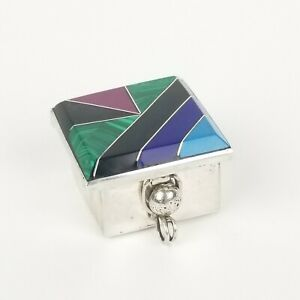 Vintage Sterling Pill Box Onyx Malachite Southwestern Silver 925 Mexico Small