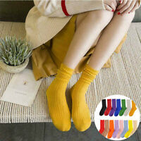 New Women Casual Cotton Knit Solid Soft High-Ankle Socks Crew Autumn Winter Warm
