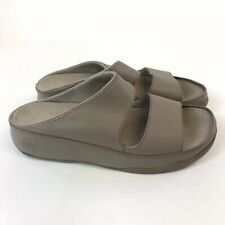 FitFlop Gogh Slide Mink Leather Slip On Open Toes Wedge Sandals Shoes US10 UK8