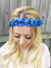 Blue Purple Rose Flower Garland Headband Hair Crown Festival Boho Floral 1861