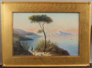 19thC Antique Signed Naples Italy Capri Sorrento Coast Italian Gouache Painting