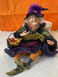 Halloween Sitting Witch Basket Halloween Figure Doll