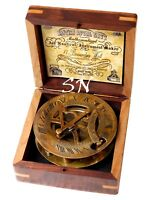 Nautical Brass Antique Sundial Compass With Hardwood Wooden Box Nautcal