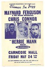 """Original Vintage Concert Flyer/Handbill """"CLIMAX IN JAZZ"""" Carnegie Hall, May 1963"""