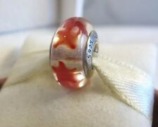 New w/Box  Pandora Cinnamon Red Stars Murano Glass Charm #790906 Patriotic USA