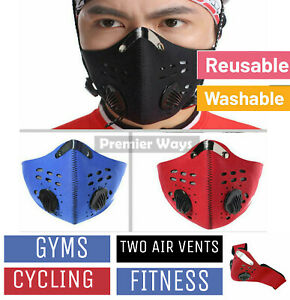 Double Vent Face Mask Reusable Washable Anti Air Pollution W/ PM2.5 Filter UK
