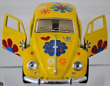 Volkswagen® Pull Back Die Cast 1:39 Yellow W/ Flower Power Classic Design
