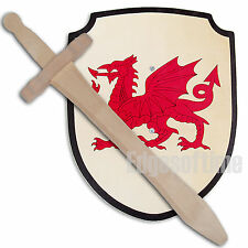 WALES WELSH DRAGON WOODEN ROLE PLAY SWORD & SHIELD