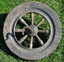 1870s Imperial Russia Antique Primitive Spinning Wheel Main Wooden Disc 358 mm