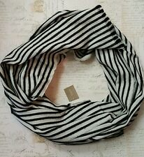 New Nwt J.crew Striped Fringe Scarf Black and Ivory