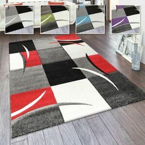 Wohnzimmer Teppich In Versch. Farben und Größen Karo Muster Streifen 3-D Design