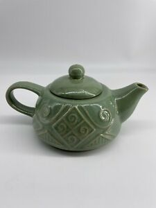 Pier 1 Stoneware Green Embossed Tea for One teapot with lid