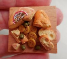 Dollhouse Miniature ~ Cheese, Bread & Cracker Board ~ Handmade