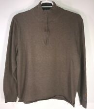 The North Face Men's Sweater Pullover 1/4 Zip Brown Cotton Wool Blend Large