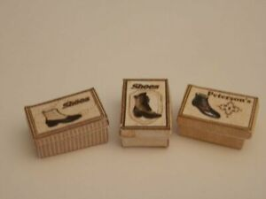 Dolls house : 1/12th Handmade  three vintage style mens shoe boxes  -By Fran
