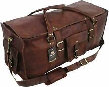 New Men genuine Leather large vintage duffle travel gym weekend overnight bag