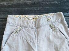 Women's ANTHROPOLOGIE ELEVENSES Boho 100% Linen Pants / Size 4 Periwinkle Blue