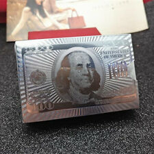 Silver Foil Deck 100 Dollars Plastic Play Cards Table Game Poker
