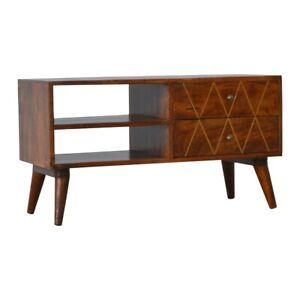 Solid Wood Retro ArtDeco Vintage Style Geometric Brass Inlay Media TV Stand Unit