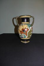large vintage Gouda holland art deco hand painted colored vase signed Peggy