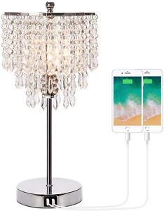 Touch Control Crystal Table Lamp with Dual USB Charging Ports, 3-Way Dimmable