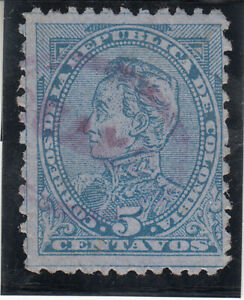 COLOMBIA 1886. 5c Blue paper. Bolivar. Used. NG