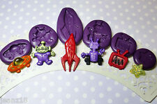 Silicone Molds Space Ship Alien Moulds Set - Miniature Sugarcraft Jewelry Clay