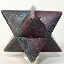 "2.5"" 8 Point Ruby in Kyanite Merkaba Star Rich Red Blue Mineral Stone Star India"