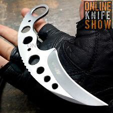 Straight Edge Razor Fixed Blade Silver Cleaver TANTO Hunting Knife Karambit Claw