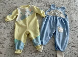 Vintage Lot Of 2 Baby Pajamas And Overalls One Piece My Baby 6-12 Months
