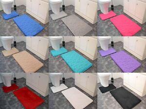 2Pc Cubes Memory Foam Bath & Pedestal Mat Sets Non Slip Soft Velour Bathroom Rug