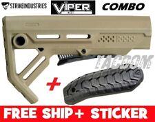 Strike Industries Viper FDE line MOD1 Compac Stock QD minimal W/ Rubber BUTT PAD