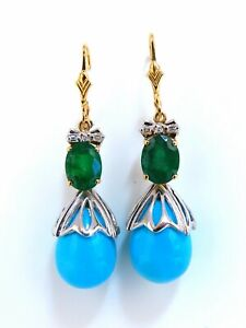 3.20ct Natural Emeralds Turquoise Diamonds Dangle Earrings 14 Karat