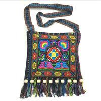 Sac à bandoulière ethnique rétro broderie Boho Hippie Tassel Tote Messenger