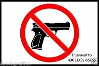"""Illinois Firearms Prohibited Gun Sticker Decal Conceal Carry Not Allowed Gun 5"""""""
