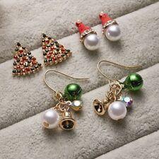 3 Pairs Women Christmas Earrings Crystal Pearl Bell Hat Tree Ear Stud Dangle NEW