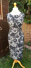 Phase Eight Dress - Black, White & Grey Floral - UK 12 - Stretch, Wriggle Dress