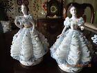 Antique Mueller Volkstedt Dresden Porcelain Lace Figurines Matched Pair-Hallmark
