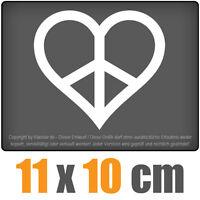 Peace - Herz 11 x 10 cm JDM Decal Sticker Auto Car Weiß Scheibenaufkleber